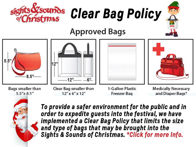 Clear Bag Policy popup. Click for more info.